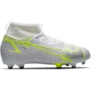 Nike Jr Mercurial Superfly 8 Academy MG - Kids Football Boots - White/Metallic Silver/Volt/Black