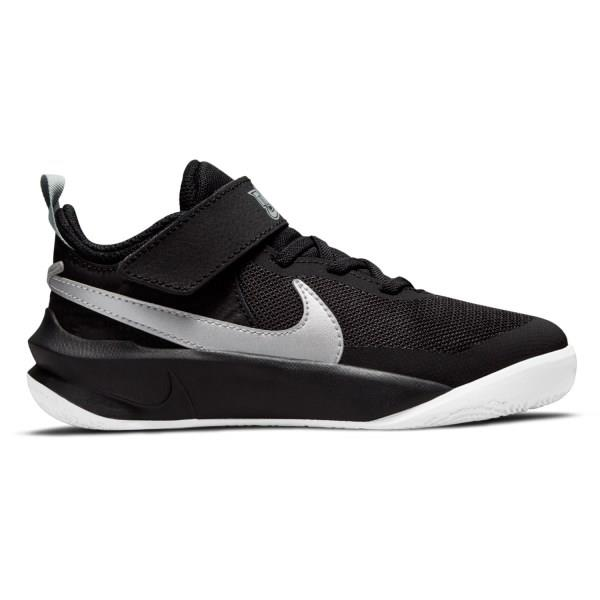 Nike Team Hustle D 10 PS - Kids Basketball Shoes - Black/Metallic Silver/Volt/White
