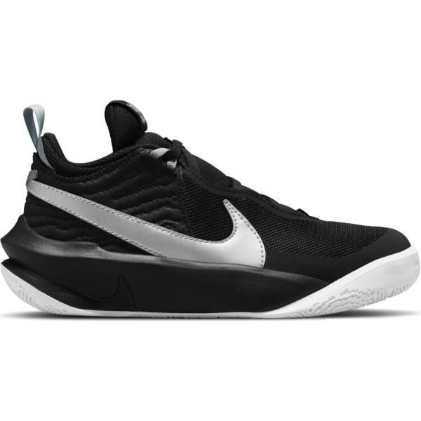 Nike Team Hustle D 10 GS - Kids Basketball Shoes - Black/Metallic Silver/Volt/White