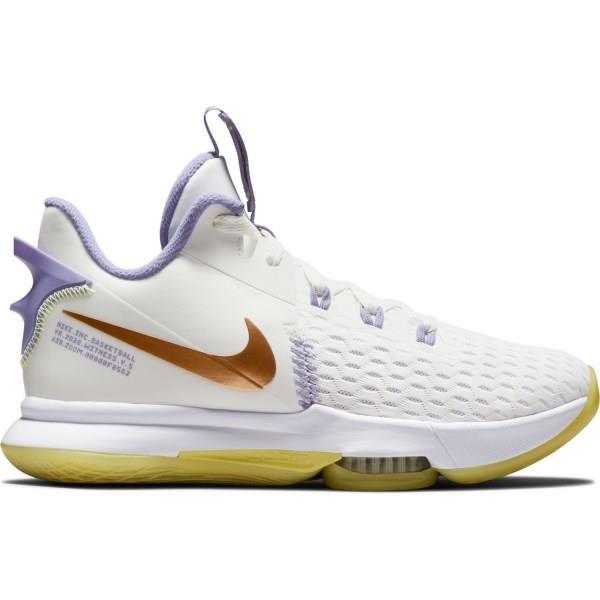 Nike Lebron Witness V - Mens Basketball Shoes - Summit White/Light Zitron/Metallic Bronze