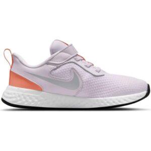 Nike Revolution 5 PSV - Kids Running Shoes - Light Violet/Metallic Platinum Crimson Bliss
