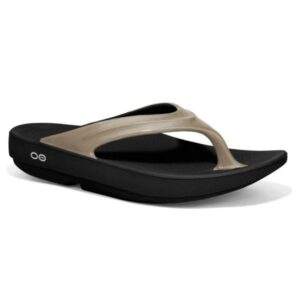 OOFOS OOlala - Womens Recovery Thongs - Black/Latte