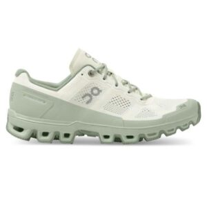 On Cloudventure - Womens Trail Running Shoes - White Cream/Moss
