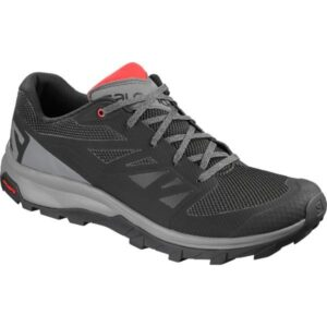 Salomon Outline - Mens Hiking Shoes - Black/Quiet Shade/High Risk Red
