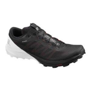 Salomon Sense Pro 4 - Mens Trail Running Shoes - Black/White/Cherry Tomato