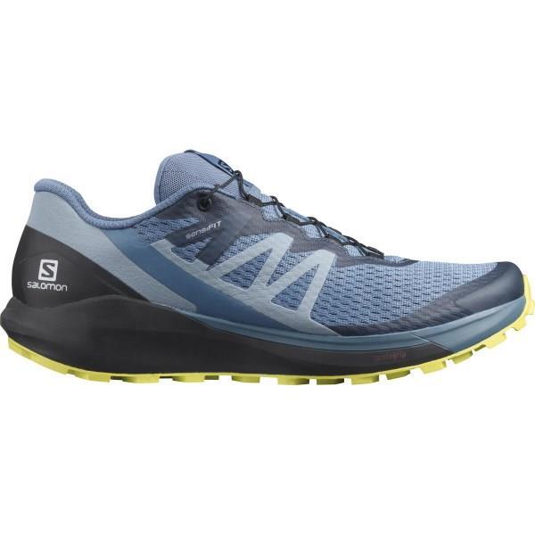 Salomon Sense Ride 4 - Mens Trail Running Shoes - Copen Blue/Black/Evening Primrose