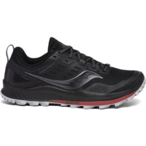 Saucony Peregrine 10 - Mens Trail Running Shoes - Black/Red
