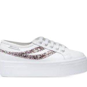 Superga Womens 2790-Leanappa GlitterW A3K White - Silver Multicolor