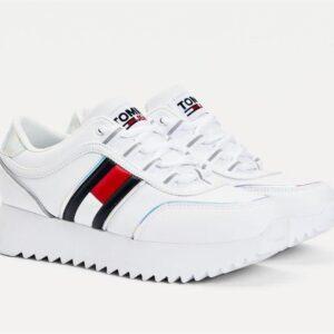 Tommy Hilfiger Womens Flag Flatform Sneaker White