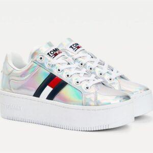 Tommy Hilfiger Womens Iridescent Logo Flatform Sneaker Ireidecent