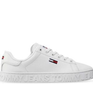 Tommy Hilfiger Womens Embossed Leather Low-Top White