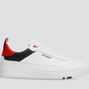 Tommy Hilfiger Mens Modern Leather Cupsole Sneaker Red White Blue