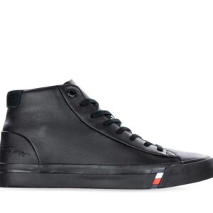 Tommy Hilfiger Mens Corporate Leather Sneaker High Black