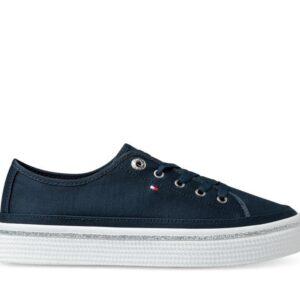 Tommy Hilfiger Womens Glitter Detail Flatform Sneaker Desert Sky