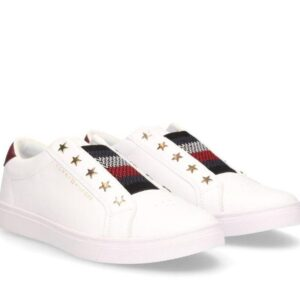 Tommy Hilfiger Womens Signature Slip-On Leather Sneaker White