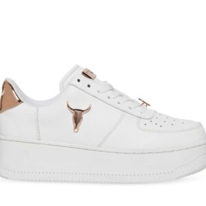 Windsor Smith Womens Rich White Leather Rose Gold 3D Bul