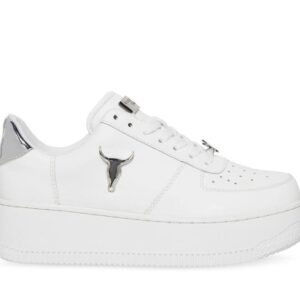 Windsor Smith Womens Rich White Leather Silver 3D Bull