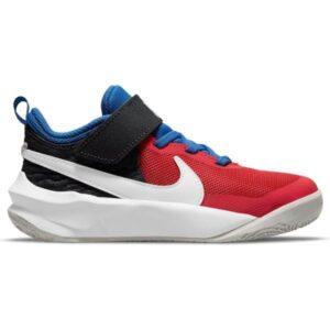 Nike Team Hustle D 10 PS - Kids Basketball Shoes - Off Noir White/University Red/Game Royal