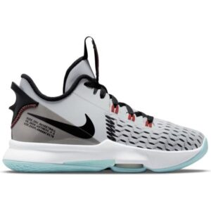 Nike Lebron Witness V GS - Kids Basketball Shoes - Pure Platinum Black/Chile Red/Light Dew