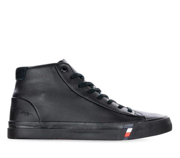 Tommy Hilfiger Tommy Hilfiger Mens Corporate Leather Sneaker High Black