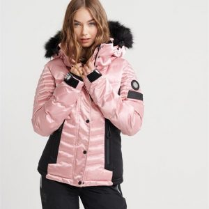 Superdry Snow Luxe Snow Puffer Ice Pink Metallic