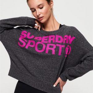 Superdry Sport Active Batwing Crop Black Marle/Super Pink