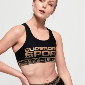 Superdry Sport Bolt Sport Bra Black/Gold