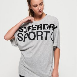 Superdry Sport Active Loose Bf Tee Light Grey Marle