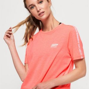 Superdry Sport Core Crop Branded Tee Paradise Coral