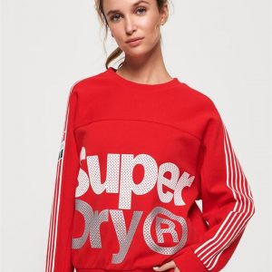Superdry Sport Athletico Crop Crew Red