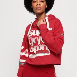 Superdry Sport La Sporting Swoosh Crop Hood American Red Marle