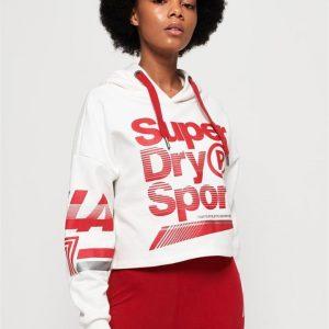 Superdry Sport La Sporting Swoosh Crop Hood American White