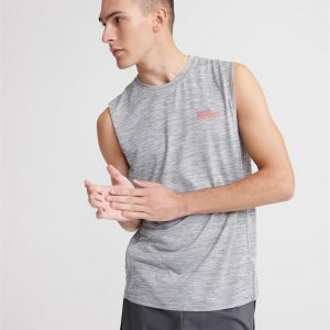 Superdry Sport Active Loose Fit Tank Vapour Grey Space Dye