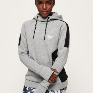 Superdry Sport Core Gym Tech Slouch Hood Shadow Marle