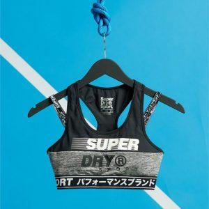 Superdry Sport Training Graphic Bra Grey Marle