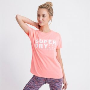 Superdry Sport Core Sport Graphic Tee... Phosphorescent Coral