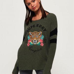 Superdry Jungle Leopard Jumper Soft Khaki