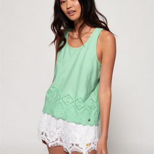 Superdry Pacific Broderie Tank Morning Dew Mint