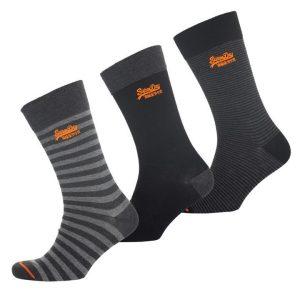 Superdry City Sock Triple Pack Grey Marl Stipe/Blk Stripe/Blk