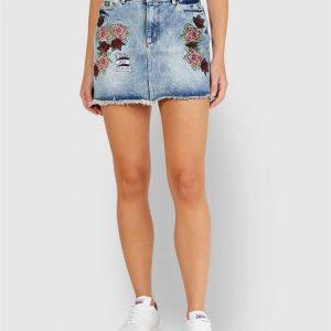 Superdry Denim Micro Mini Skirt Tattoo Blue