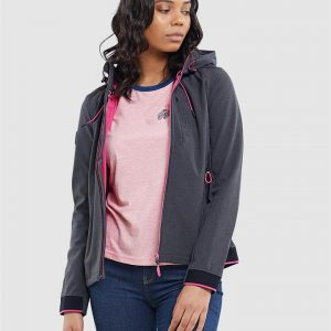 Superdry Nu Hooded Sd Windtrekker Dark Charcoal Marle/Berry Pink