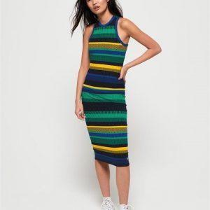 Superdry Knitted Stripe Midi Dress Blue Yellow Stripe