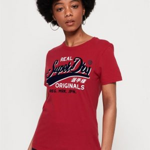 Superdry Real Originals Flock Entry Tee Nautical Red
