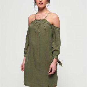 Superdry Eden Cold Shoulder Dress Khaki