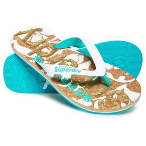Superdry Printed Cork Flip Flop Optic White/Turquoise