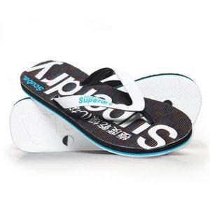 Superdry Scuba Grit Flip Flop Optic White/Fluro Blue