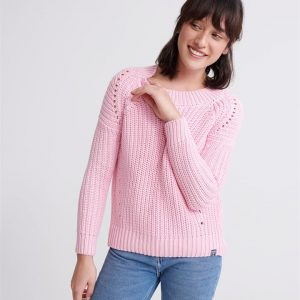 Superdry Harper Pointelle Rib Knit  Powder Pink