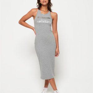 Superdry Alex Midi Dress Soft Grey Marle