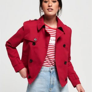 Superdry Cropped Azure Trench Letterbox Red