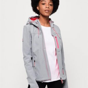 Superdry Summer Hooded Windtrekker Grey Marle/Fluro Pink
